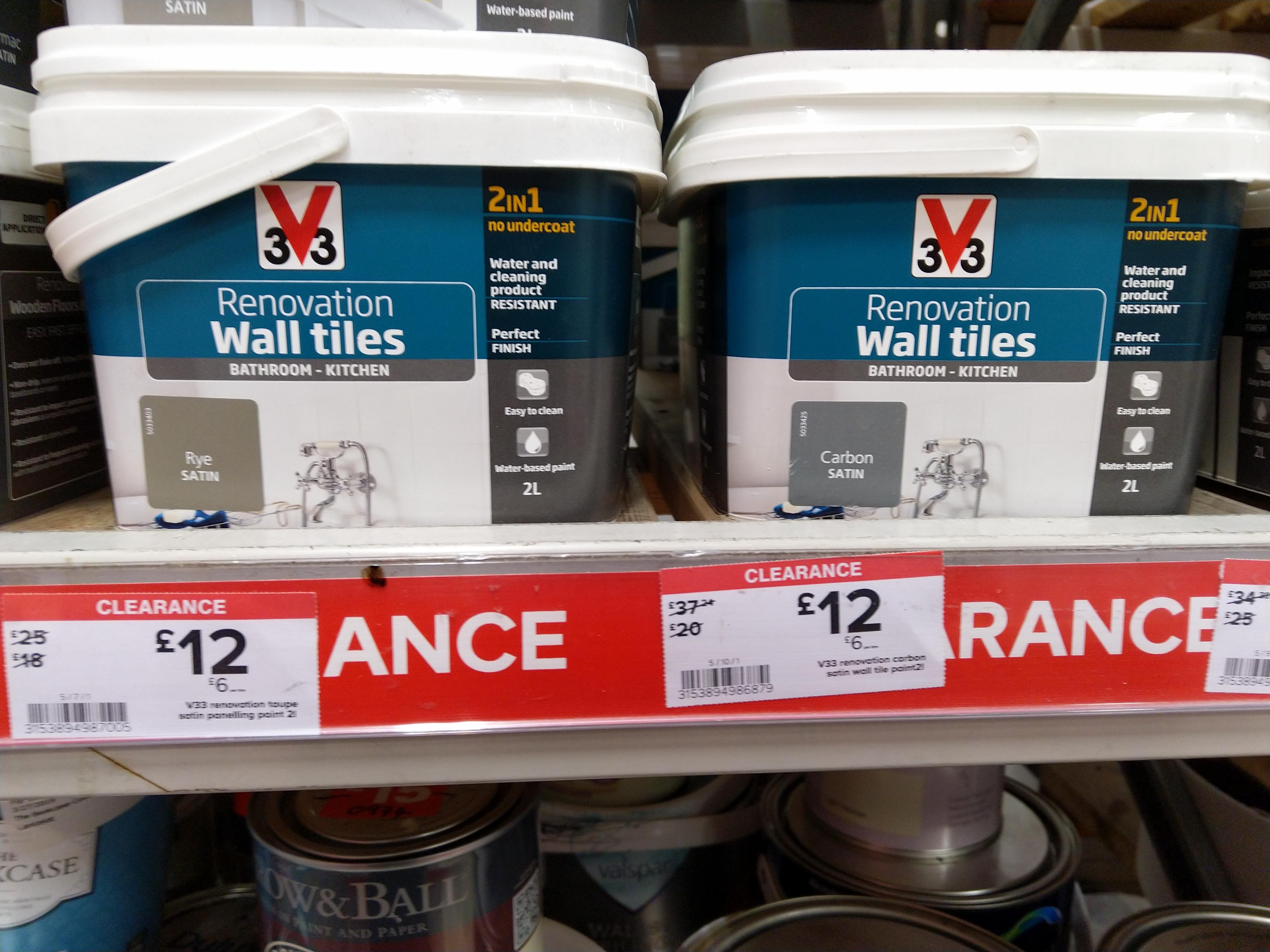V33 Bathroom Kitchen 2 Litre Tile Paint At B Q For 12 Hotukdeals
