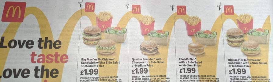 McDonald's vouchers in today's free Metro newspaper (July 29th 2019