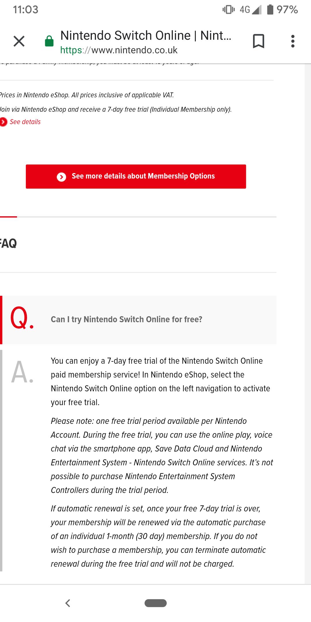 7 days FREE trial of Nintendo Switch Online @ Nintendo