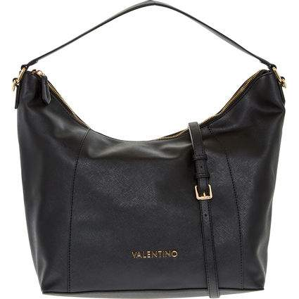 In Black This Stylish Hand Bag Features A Broad Shoulder Handle As Well Slender Optional Strap Zip Top Fastening And Chic Gold Tone