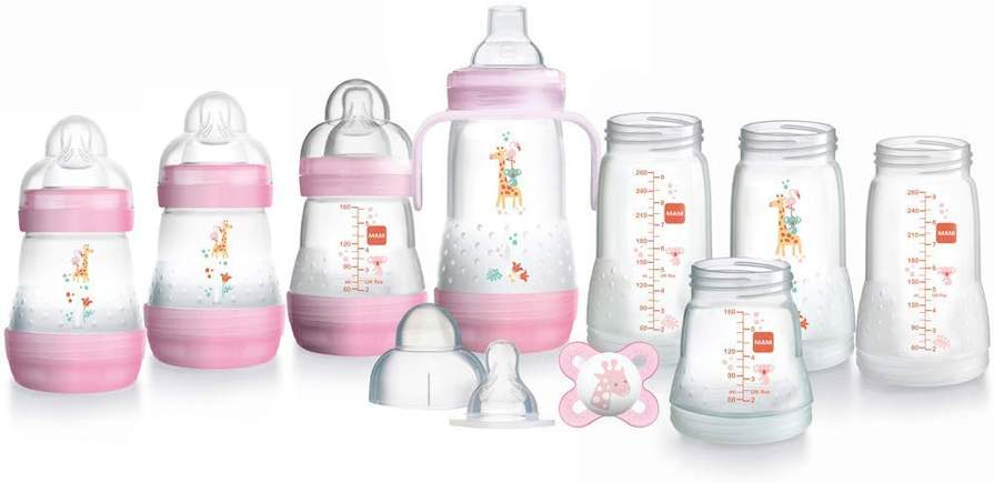 UK New MAM Bottle Feeding Baby Milk Teat Anti-Colic Drinking water bottle Set