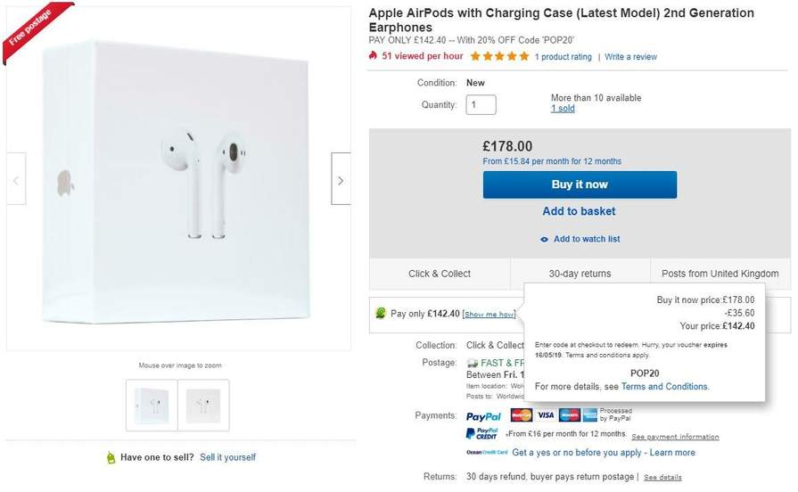 Apple Airpods 2nd Generation with Charging Case - £142 40