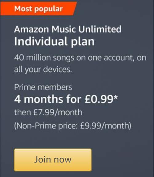 Amazon Music Unlimited 4 Months For 099 For New Existing Prime