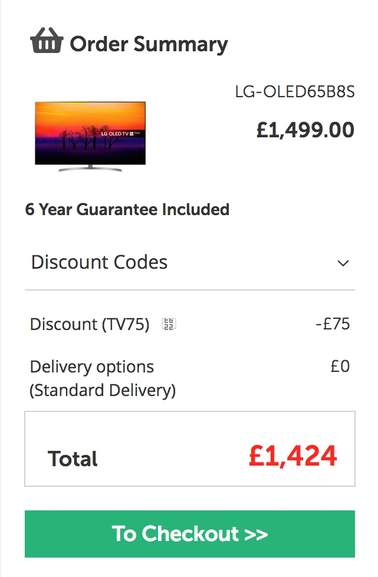 LG OLED65B8S 65 inch OLED Smart TV £1424 delivered with code