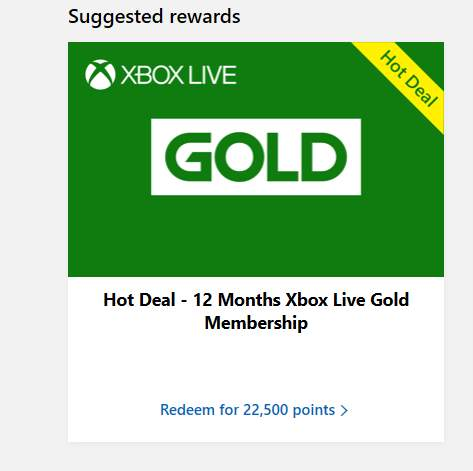 12 Months Xbox Live Gold Membership-22,500 Microsoft rewards