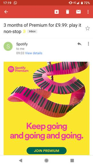3 months of Spotify Premium for £9 99 (email offer possibly