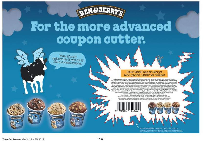 image relating to Cost Cutters Printable Coupons identified as Totally free BEN JERRY MOO-PHORIA Gentle ice product (Printable