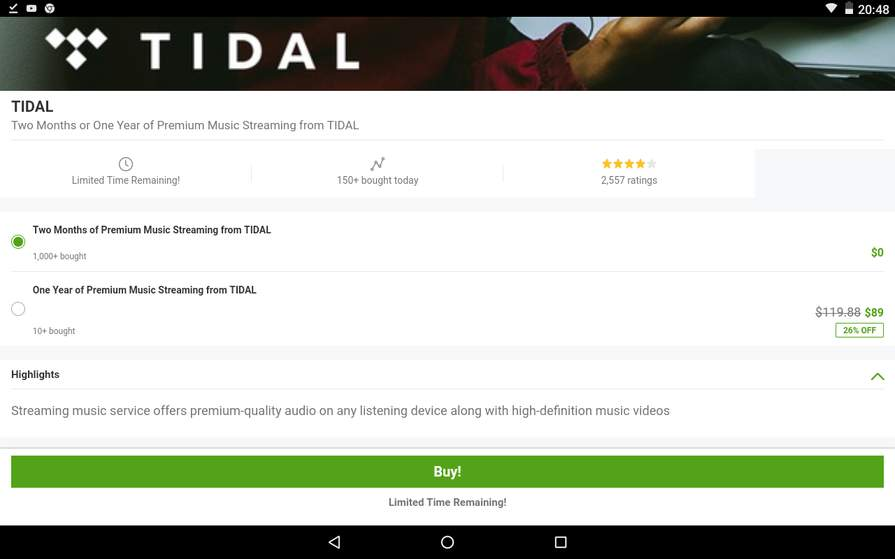 TIDAL — Two Free Months of Premium Music Streaming from TIDAL via
