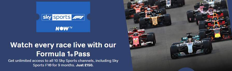 NOW TV SPORTS F1 PASS 9 MONTHS £150 - NOW TV Community