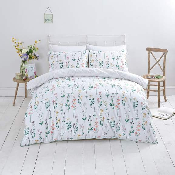 This Pretty Wildflower Bedding Set Boasts Bright Pastel Fls That Pop Beautifully Against The Crisp White Backdrop And Are A Breath