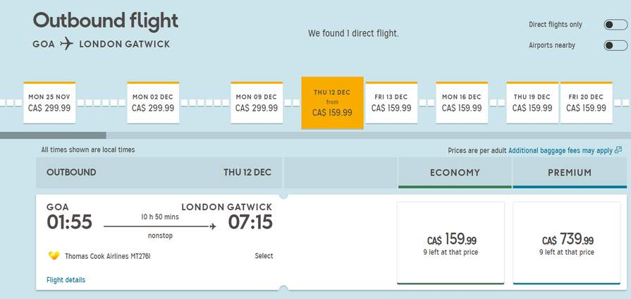 One Way flight from Goa (India) to London Gatwick £94 66