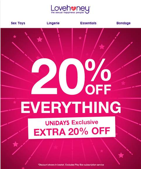 f77ef9743015 20% off LoveHoney + Extra 20% for Students + £5 off via Unidays ...