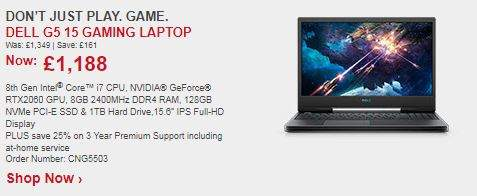 Dell G5 15 Gaming Laptop (6 Core i7-8750H, RTX 2060) £1188