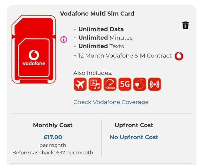 5G Vodafone Sim Only  Unlimited data /mins / text  £32 for