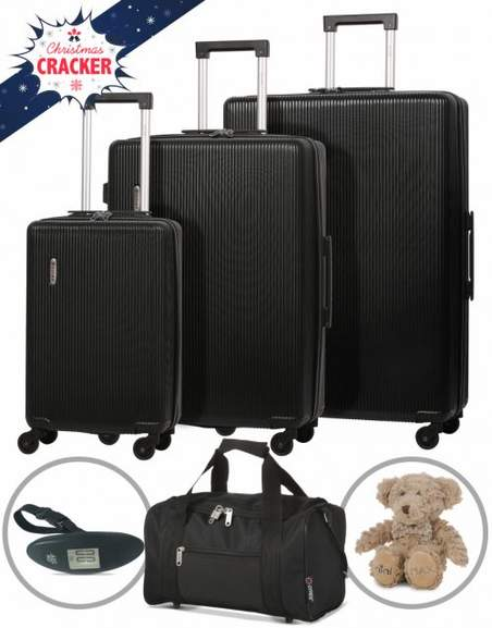 f8a8303d1 5 Cities Hard Shell 3 Piece Suitcase Set with Free Luggage Scale, Ryanair  Approved Holdall & Teddy £69.99 Del @ Travel Luggage & Cabin Bags