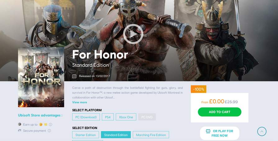 For Honor Standard Edition Free (PC) @ Ubisoft - hotukdeals