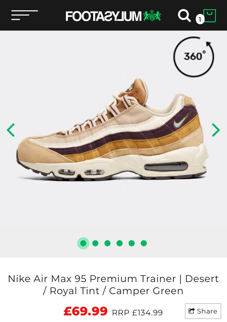 online retailer 77fad 38f06 Nike Air Max 95 premium trainers now £69.99 @ Footasylum ...