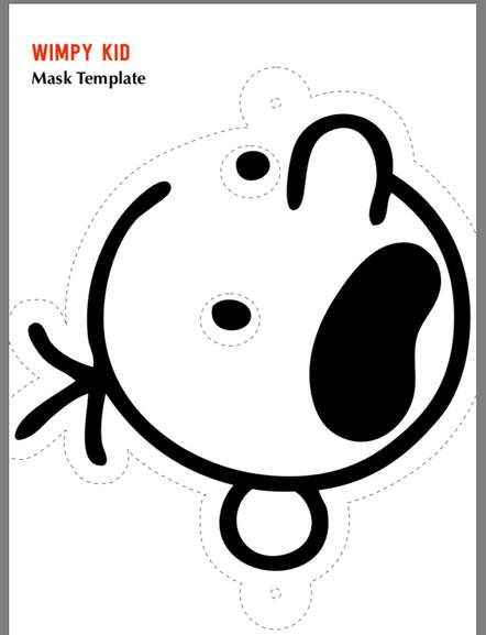graphic relating to Diary of a Wimpy Kid Printable titled No cost Diary of a wimpy little one mask slice out template. Perfect for