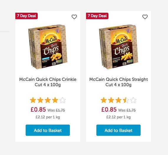 McCain Quick Chips Crinkle Cut / Straight 4 x 100g £0 85