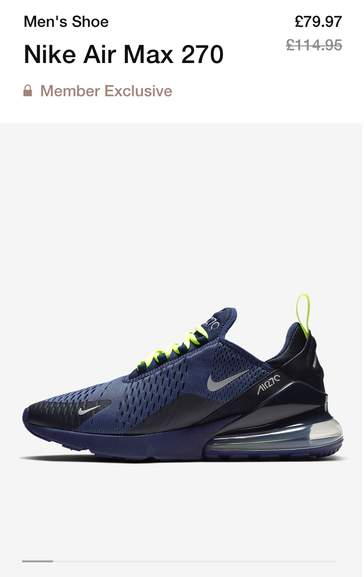 low priced 5ebf0 78987 Nike Air Max 270 trainers was £114.95 now £63.98@ Nike ...
