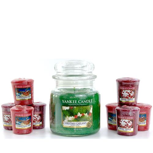 9 Piece Christmas Garland Yankee Candle Bundle 1x Medium Garland