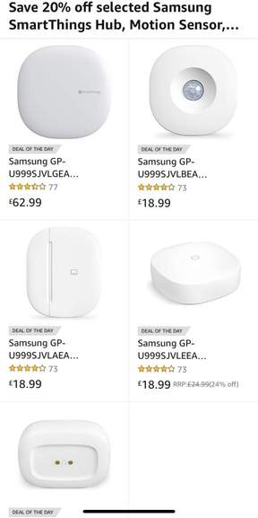 Samsung Smarthings 20% off Amazon deal of the day - from £18 99 (+