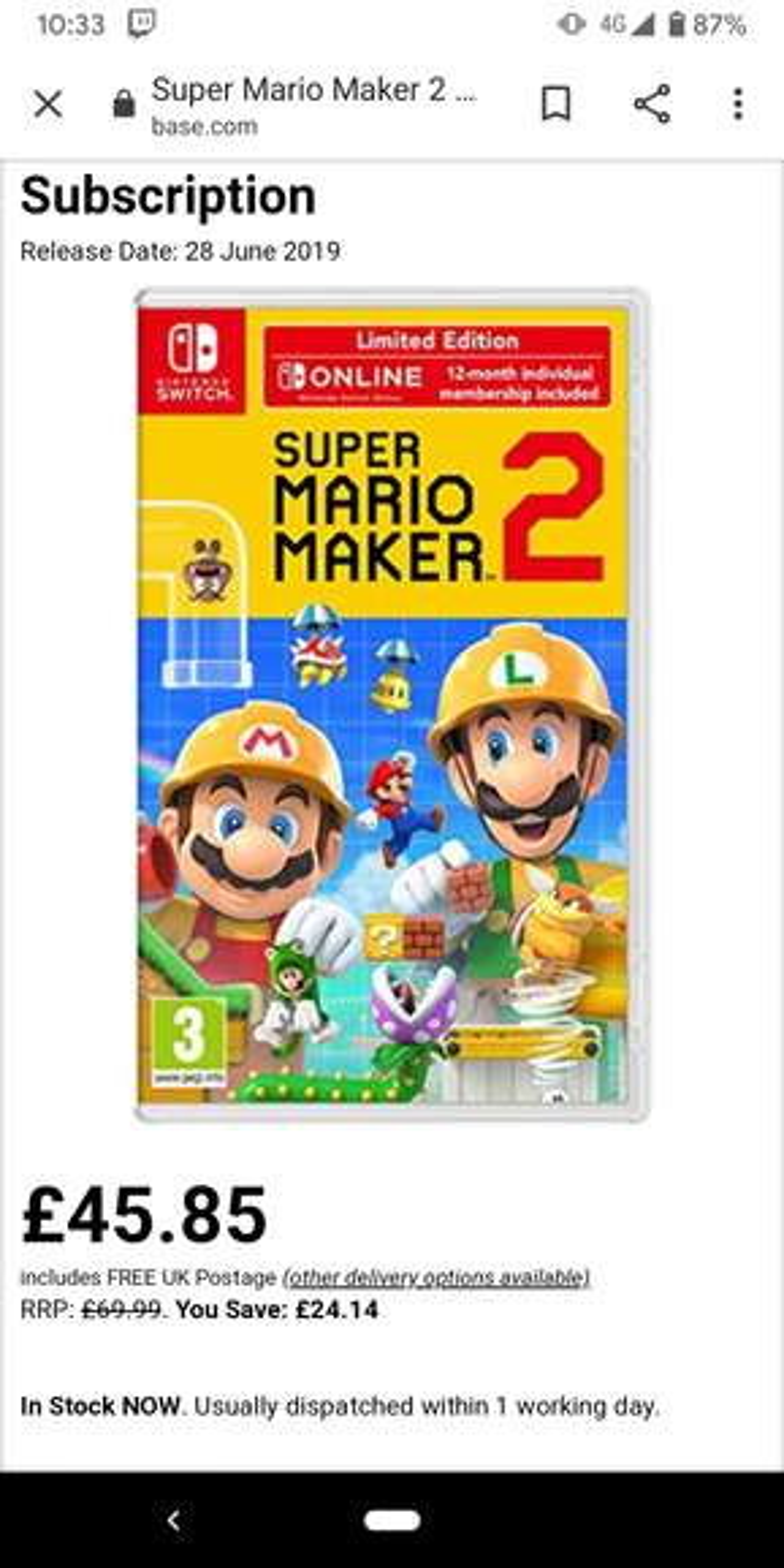 Super Mario Maker 2 (Switch) + 1 year Nintendo Switch Online