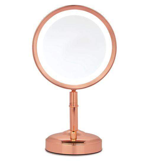 Star Gift No7 Illuminated Mirror Rose Gold Or Chrome