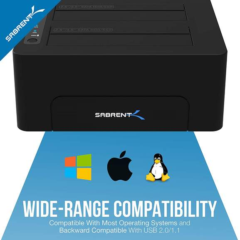 Sabrent USB 3 0 to SATA Dual Bay Ext Hard Drive Docking
