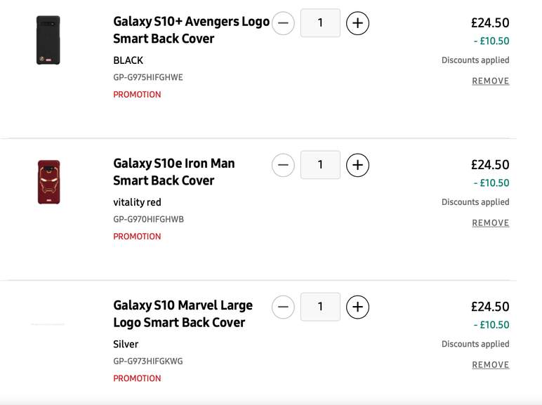 30% off Marvel Samsung Galaxy S10 / S10+ / S10e Cases for