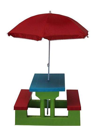 Kids Resin Picnic Bench Parasol Now CC Tesco Direct - Picnic table parasol