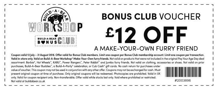 graphic about Buildabear Coupon Printable called Log within just toward your Acquire a Endure Account for £12 off inside-retail store