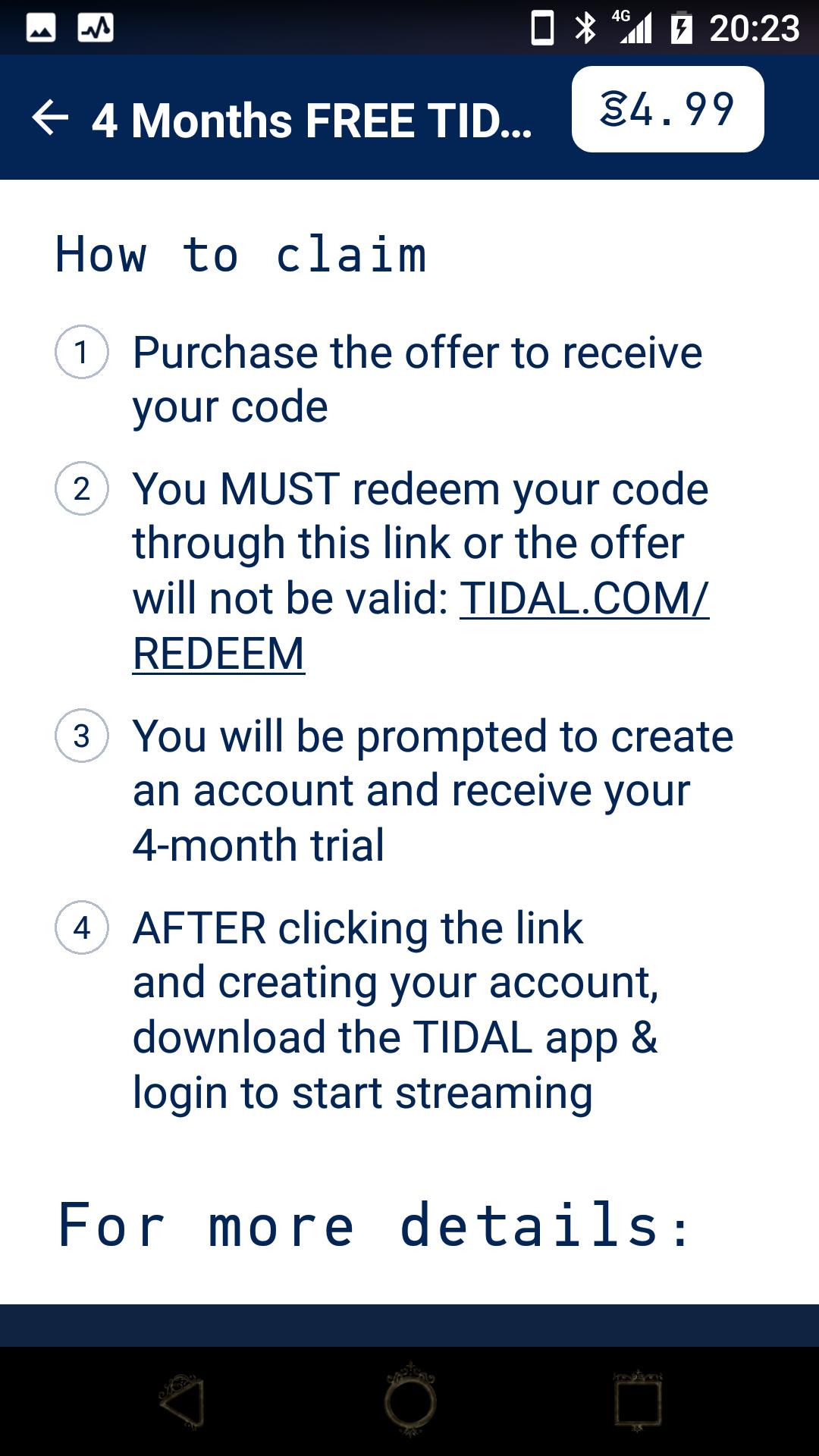 Tidal 3 Months Free