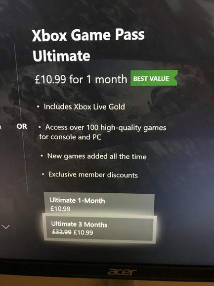 3 Months Xbox Game Pass Ultimate Xbox Live Gold 1099