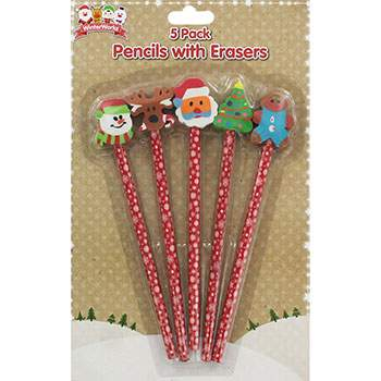 1555866d0 Pack Of 5 Christmas Pencils with Eraser Toppers £1   Pack of 12 ...