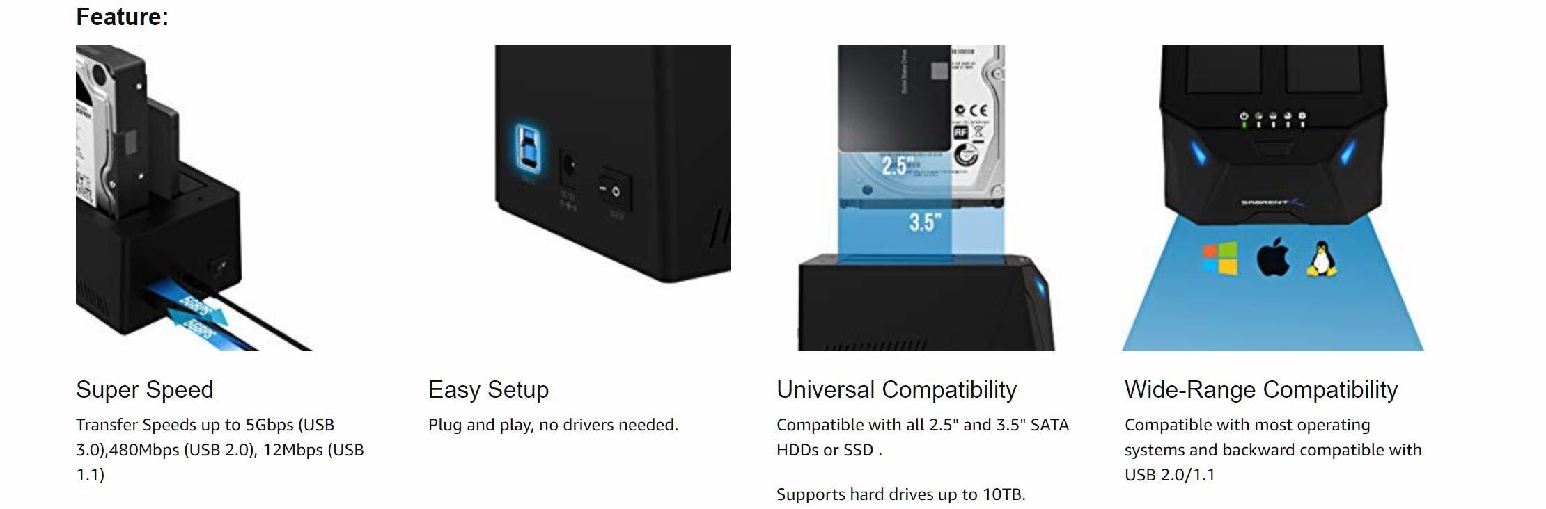 Sabrent USB 3 0 to SATA I/II/III Dual Bay Docking Station
