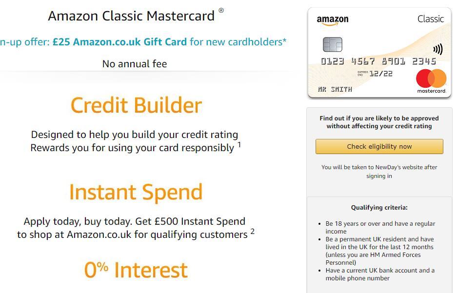 Amazon Classic Mastercard Sign-up offer: £25 Amazon co uk