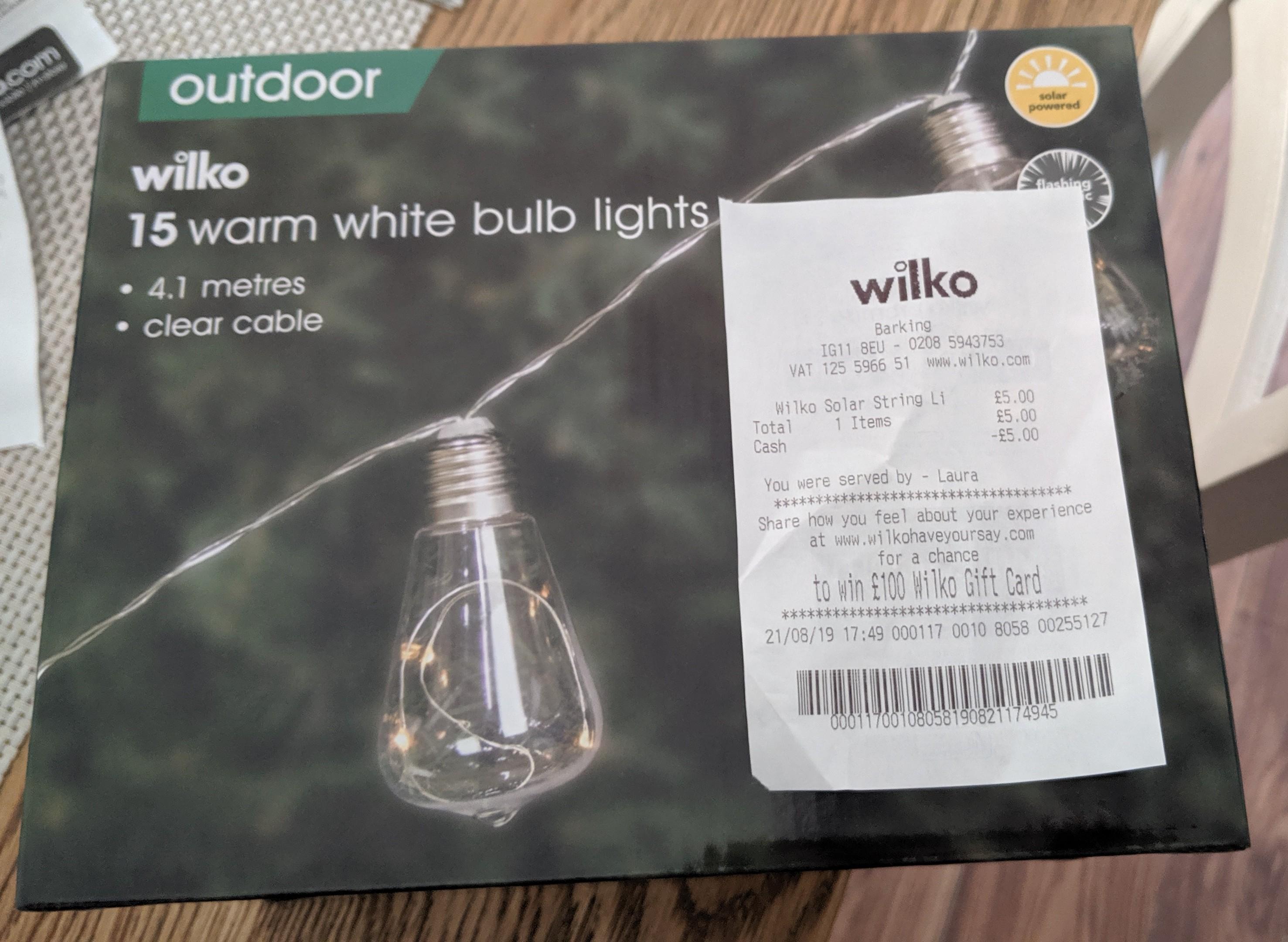 quality design e11e7 784cb Wilko Warm White Solar Light Bulb string lights £5 instore ...