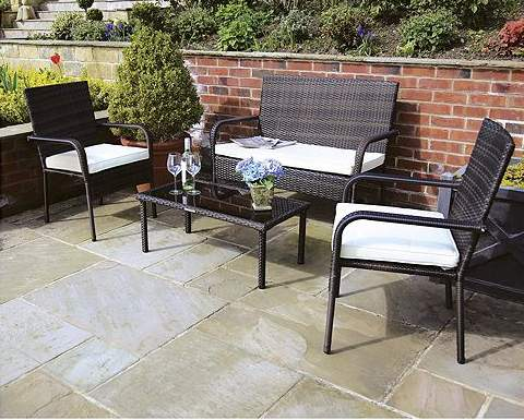 seating up to 4 people this st tropez rattan furniture set from charles bentley is ideal for use in the garden and patio area - Rattan Garden Furniture Tesco
