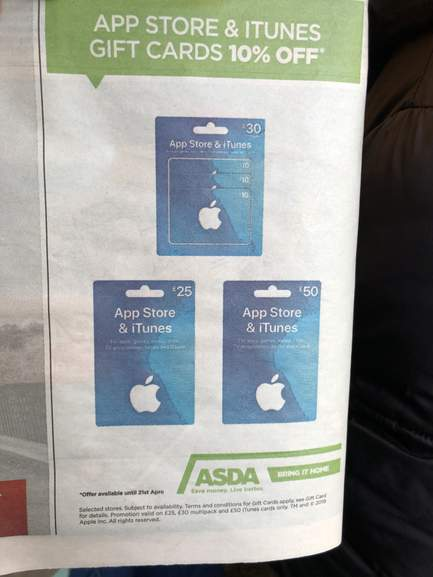 Appstore And Itunes Gift Cards 10 Off At Asda Instore Hotukdeals