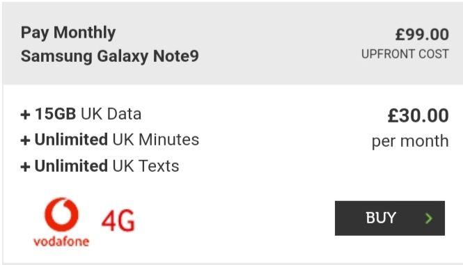15GB Vodafone Red Extra Data   Samsung Galaxy Note 9 512GB