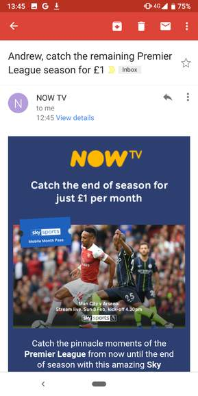 Now TV - Sky Sports Mobile Month Pass £1 per month for 4