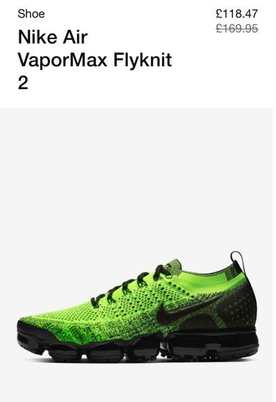 78b961c184 Nike Air VaporMax Flyknit 2 were £169.95 now £118.47 sizes 6 to 12 all in  stock