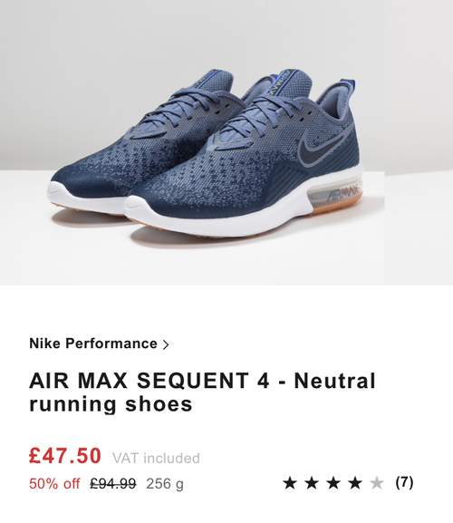 new arrival 8e04f 858c1 Nike Air Max Sequent 4 running shoes / trainers were £94.99 ...