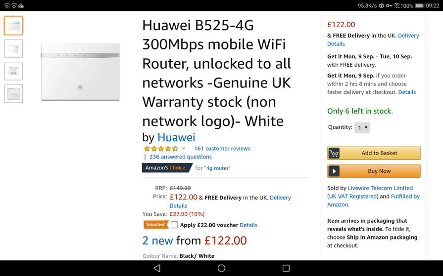 Huawei B525-4G 300Mbps mobile WiFi Router, unlocked to all