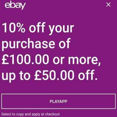 10% off £100+ spend Max discount £50 @ eBay using code