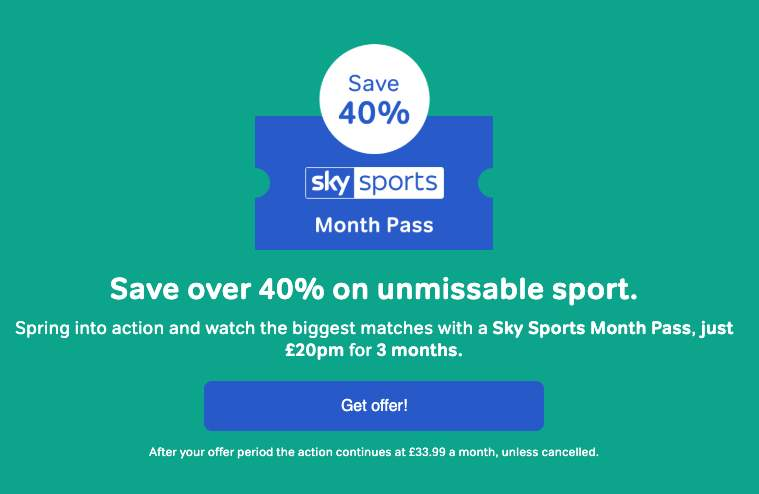 NowTV Sky Sports Pass - £20 per month (normally £33 99) for
