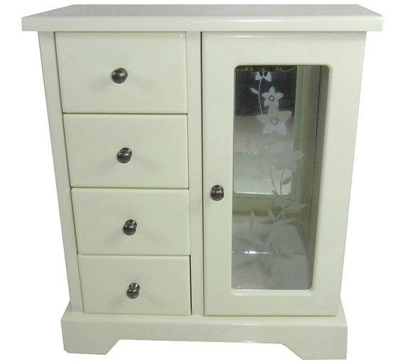 vintage 4 drawer wooden jewellery box now argos. Black Bedroom Furniture Sets. Home Design Ideas