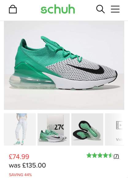 lowest price fa03e 3d5d7 Nike Air Max 270 Flyknit Trainers Now £74.99 (Sizes 4,5,7 ...
