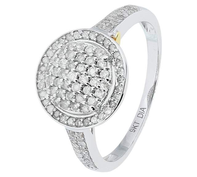 49761e7f7df1be Revere 9ct White Gold 0.50ct tw Diamond Halo Ring, Less Than Half ...
